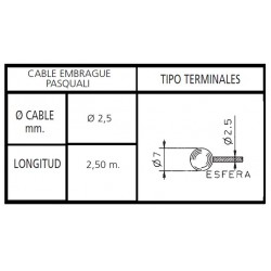 CABLE EMBRAGUE MOTOCULTOR PASQUALI 2,5X2500 Cabeza Tipo BOLA ESFERA
